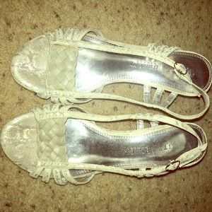 Gorgeous WHBM silver and creme/ivory wedges